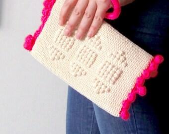 Medium Size Crochet Clutch Bag with Neon Pom Pom trim