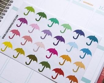 24 umbrella stickers, weather sticker, planner stickers, scrapbook rain sticker, parasol sticker eclp filofax happy planner kikkik