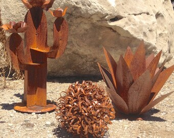 Southwestern Set,metal yard art,garden art,metal cactus,sculpture,cactus sculpture,southwestern decor,rustic decor,home and garden decor,art
