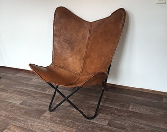 New  handmade leather Butterfly chair