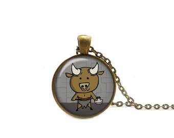 Minotaur Necklace, Minotaur Pendant, Greek Mythology Necklace with Chain