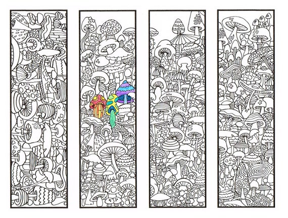 Coloring Bookmarks - Mushroom bookmark coloring page for adults and big kids - Four printable bookmarks to color