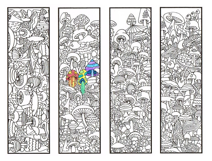 Printable Coloring Bookmarks Free : Coloring bookmarks mushroom bookmark page for