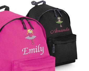 Personalised Children's Ballet Backpack, School Bag with Ballerina, Rucksack