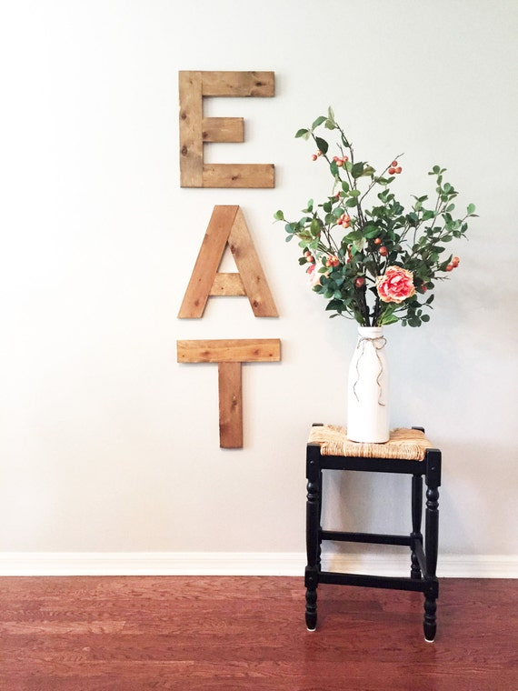 Rustic wall art eat letters kitchen decor vintage for Kitchen letters decoration