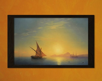 Sunset Over Ischia 1857 Ivan Aivazovsky Print - Fine Art Print Retro Art Reproduction Home Decor Design Romanticismt