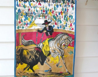 Vintage Bull Fighting Banner, Wall Hanging, Decor