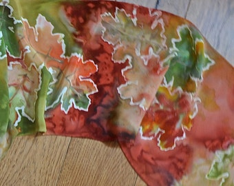 Summer to fall scarf,Hand dyed scarf,10x54 in,Accessory scarf,Silk scarf,Crepe de chine scarf,Fall scarf, Leaf design,Colorful women scarf