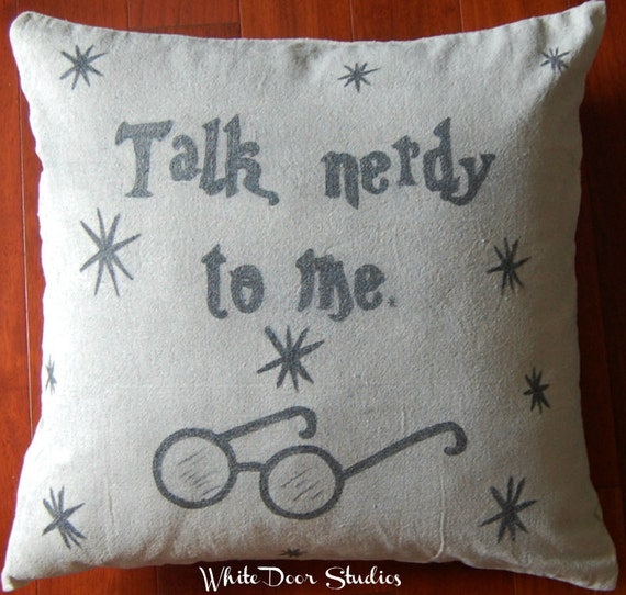 Items Similar To Talk Nerdy To Me Pillow Cover Hand Drawn Nerd Geek Home De