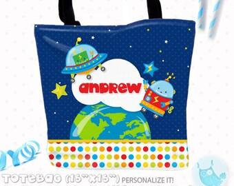 SALE Space robots Personalized Tote Bags, custom Tote bag, kids tote, school tote, kindergarten tote, beach tote bag, space Tote Bags TB121
