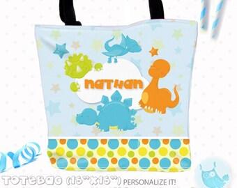 SALE Dinosaur boys Personalized Tote Bags, custom Tote bag, kids tote, school tote, kindergarten tote, beach tote bag, dinoTote Bags TB120