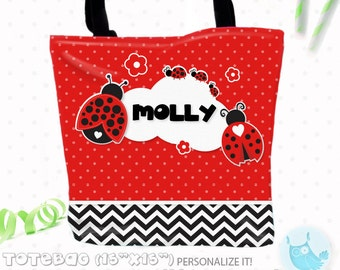 SALE Ladybug Personalized Tote Bags, custom Tote bag, kids tote, school tote, kindergarten tote, beach tote bag, ladybug Tote Bags TB106
