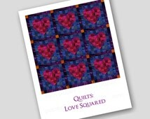 "2 CARDS for Quilters & Quilt Lovers  ""Quilts: Love Squared"" - Also available as a Print - Great gift for the Sewing Room (Q2015068)"