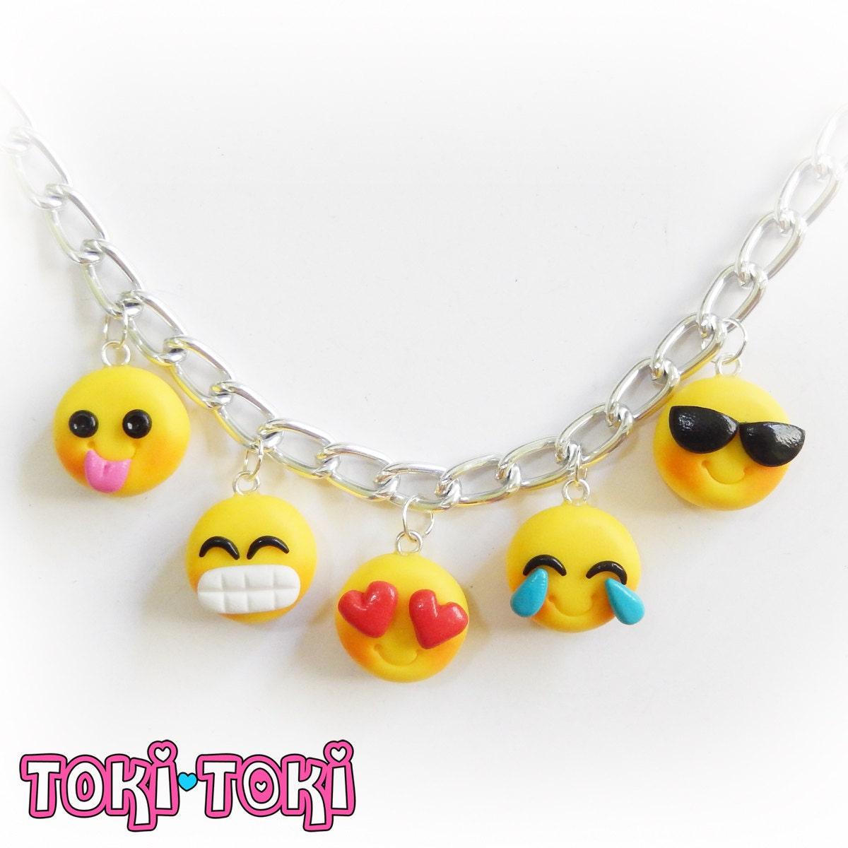 Polymer Clay Charm Bracelet: Emoji Bracelet Emoticon Charm Smiley Emoticon Polymer Clay