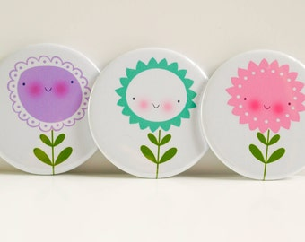 Trio of Flower Pocket Mirrors