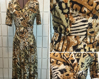Tribal / Safari print 80's dress with pleats and wrap top detail