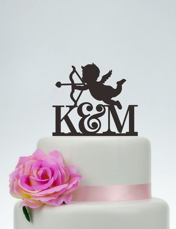 Wedding Cake Topper With Initials And CupidCupid Cake