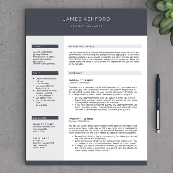 modern resume template for word 1 2 page resume cover letter tips