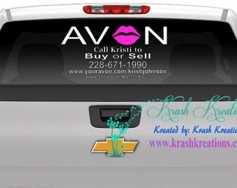 Avon back window decal, (O as LIPS)