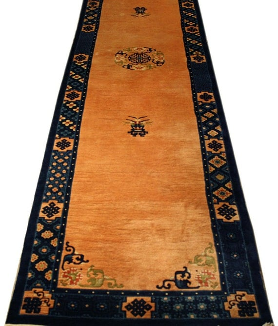 Vintage Chinese Rug Peking Rug 2.7x11 Area Rug Hall