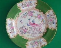 Vintage Minton China Green Cockatrice Pattern Side Dish Salad Plate