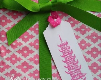 Chinoiserie Gift Tags Pagoda Asian Temple Pink Party Supplies - Set of 5