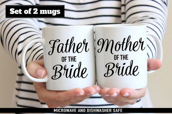 Coffee Mug Set of Father of the Bride and Mother of the Bride Coffee Mugs - Wedding Party Gifts - Father of the Bride - Mother of the Bride