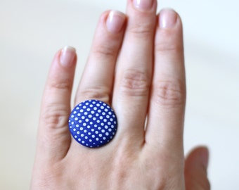 Cobalt blue ring Modern ring Contemporary jewelry Navy blue ring 3D effect ring Casual ring blue Polka dots Minimalist ring Cobalt jewelry