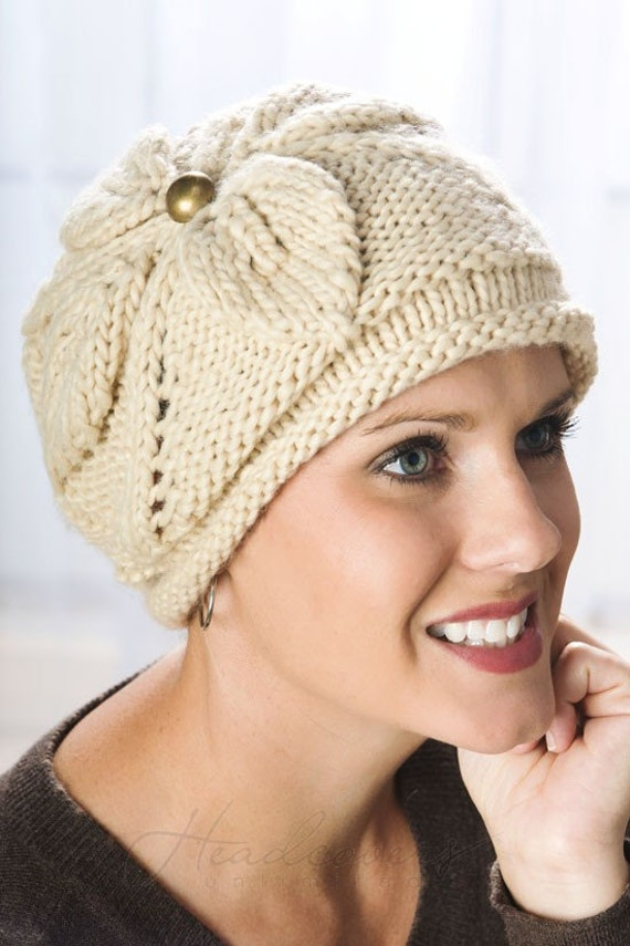 Knitting Patterns For Cancer Beanies : Jennie Knitted Flower Beanie Hat Cancer by HeadcoversUnlimited