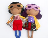 """Superhero rag dolls for afro american kids or mixed race children, ideal toddler gift or for twins, sieblings, a soft toy with the size 19"""""""