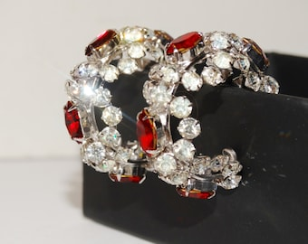 Vintage Rhinestone Clip-on Hoop Earrings.