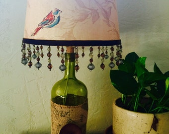 Vintage Style Wine Bottle Lamp~ Finch