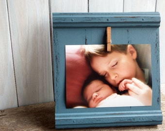 Rustic blue wood picture frame 5x7 - children picture frame - nursery decor - blue picture frame - 5x7 photoframe - home decor wall hanging