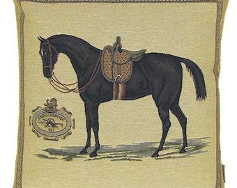 jacquard woven belgian tapestry cushion pillow dressage horse Grand Champion