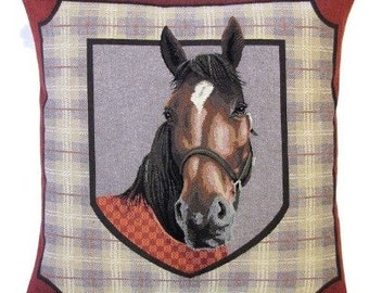 Horse Decor Pillow Cover - Horsehead Throw Pillow - Horse Lover Gift - 18x18 Belgian tapestry Pillow Cover - PC-5363