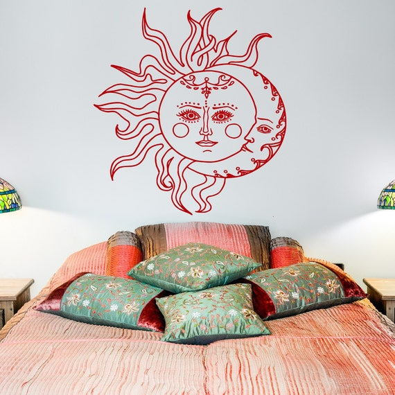 sun and moon wall decal sticker crescent moon decor ethnic. Black Bedroom Furniture Sets. Home Design Ideas