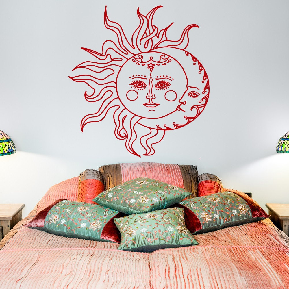 Sun And Moon Wall Decal Sticker Crescent Moon Decor Ethnic