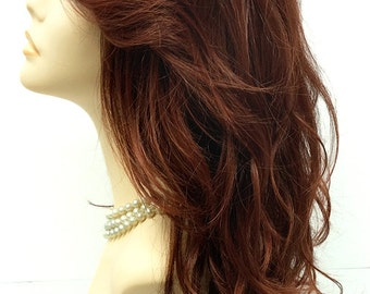 Long 18 inch Mixed Dark and Light Auburn Wig with Premium Heat Resistant Fiber. [30-178-Monday-T33/130]