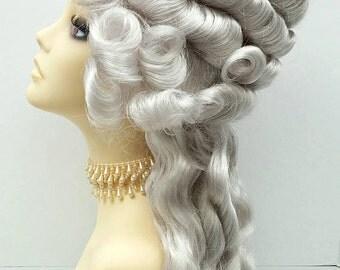 Marie Antoinette Silver Grey Costume Wig. Marie-Antoinette perruque Costume. Colonial Style Wig. [19-123-Marie-60]