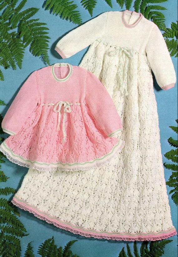 Baby Christening Dress Knitting Pattern 18 inch chest uses