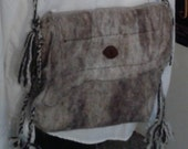 Shoulder Bag, Chocolate Brown & White, Hand Felted Cross Body Bag Lined
