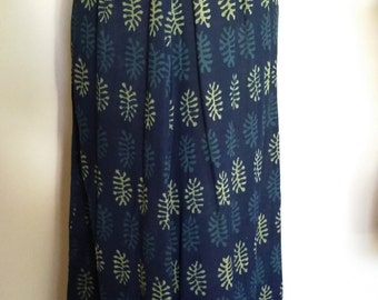 Block print skirt, m, India skirt, cotton skirt, hippie skirt, blue skirt, green skirt, teal skirt, green skirt, fall skirt, summer skirt