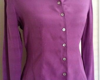 Purple silk blouse, button front blouse, bright purple top, purple top, size S M
