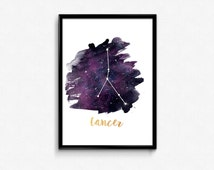 Cancer zodiac, Cancer Constellation, Stars constellation, Astrology print, Astronomy print, Astrology Watercolor print, Home wall art