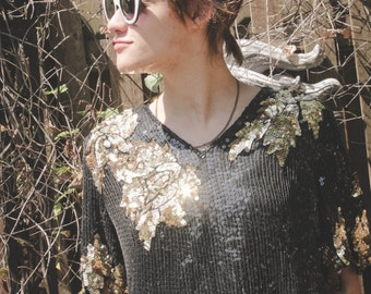 GORGEOUS Vintage Black and Gold Sequined Top with Floral Designs