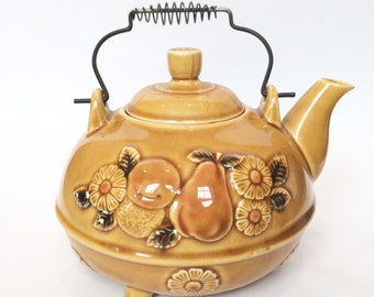Teapot Footed With Fruit Harvest Gold Japanese