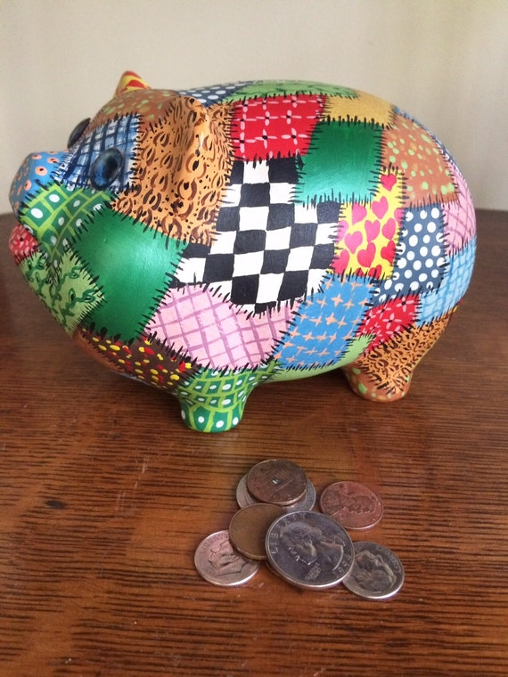 coin pig bank patchwork quilt piggy bank by twobecontinued. Black Bedroom Furniture Sets. Home Design Ideas