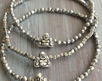 Buddha Bracelet, Beaded Bracelet, Boho Bracelet, Bohemian Bracelet, Hematite Bracelet, Buddha Bracelet