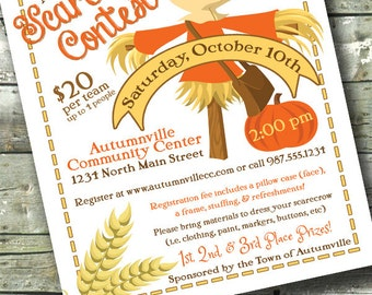 Scarecrow Fall / Autumn Festival ~ Community Contest Event ~ 5x7 Invite ~ 8.5x11 Flyer ~ 11x14 Poster ~ 300 dpi Digital Invitation