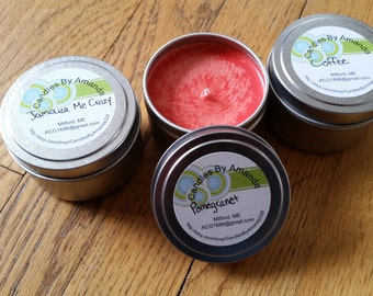 6oz Scented Soy Wax Tin Candles, Soy Wax Scented Candles, Gifts for Her, Wedding Favors, Shower Favors, Tin Candles, 6oz Candles, Candles